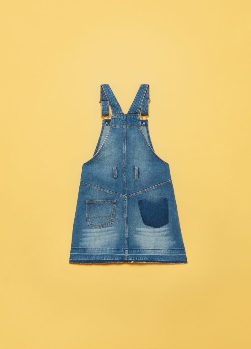 Denim dungarees with raw edging image number null