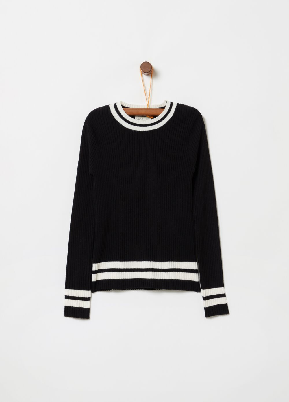 Long-sleeved knitted top with print