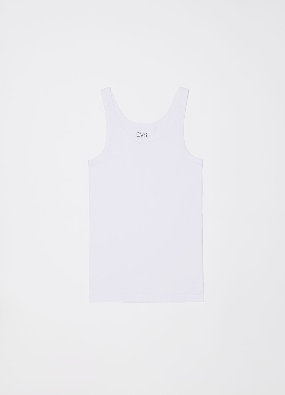 Ribbed racerback top with narrow shoulder straps