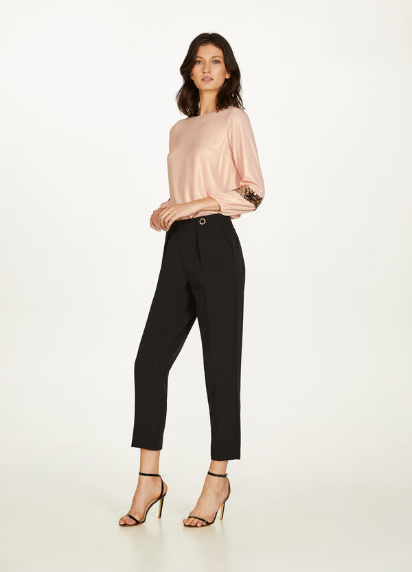 Blouse with three-quarter sleeves and sequins
