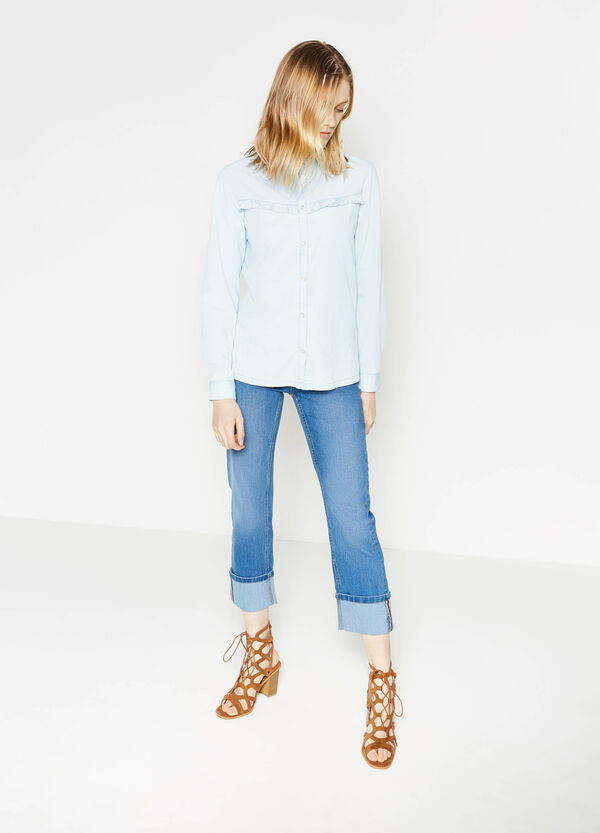 Slim-fit stretch crop jeans with turned-up hems | OVS