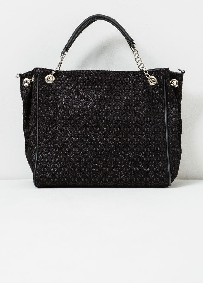 Patterned handbag with chain handles