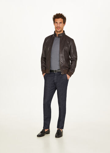 Rumford textured genuine leather jacket