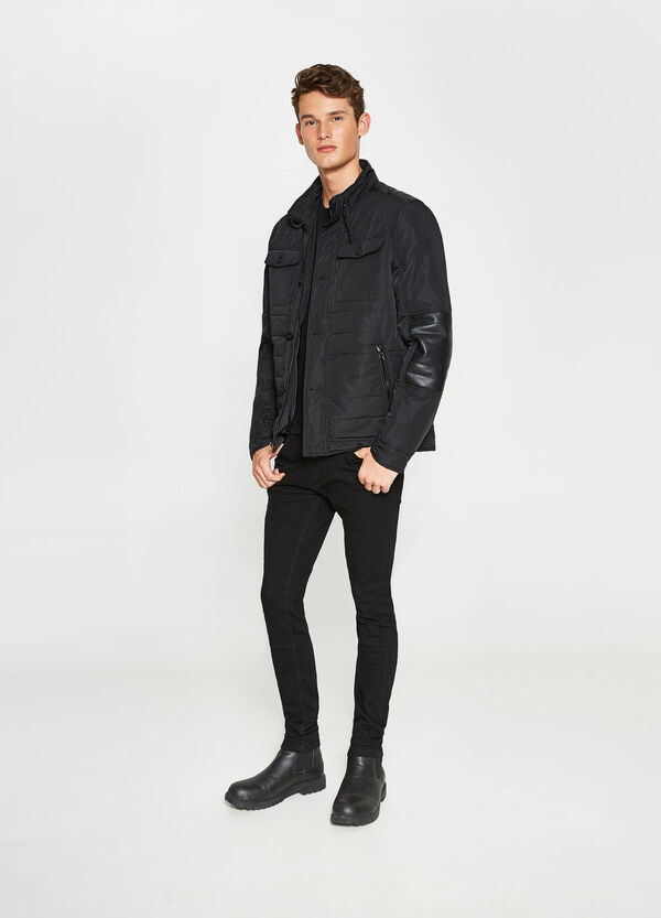 Jacket with high neck and stitching | OVS