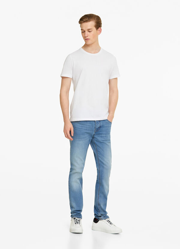 Skinny-fit stretch jeans with buttons