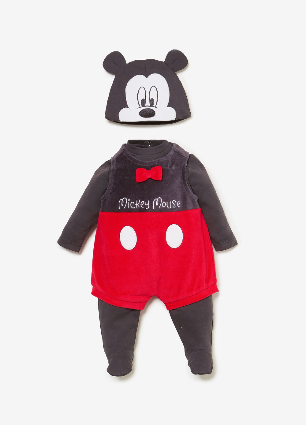 Mickey Mouse onesie with hat outfit