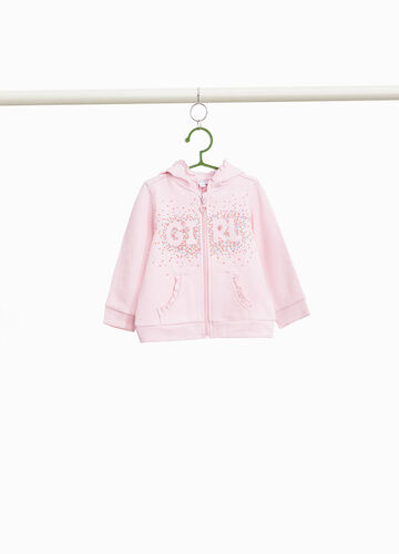 Sweatshirt in 100% cotton with print and flounce