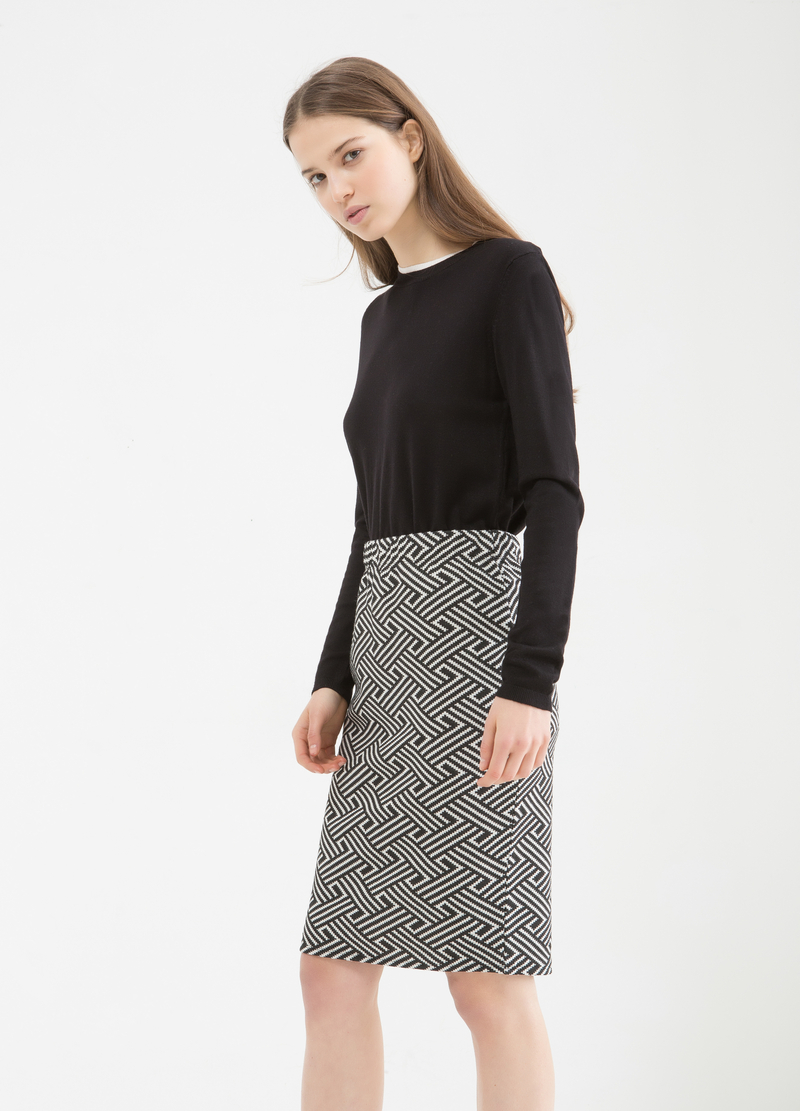 Stretch cotton blend pencil skirt image number null