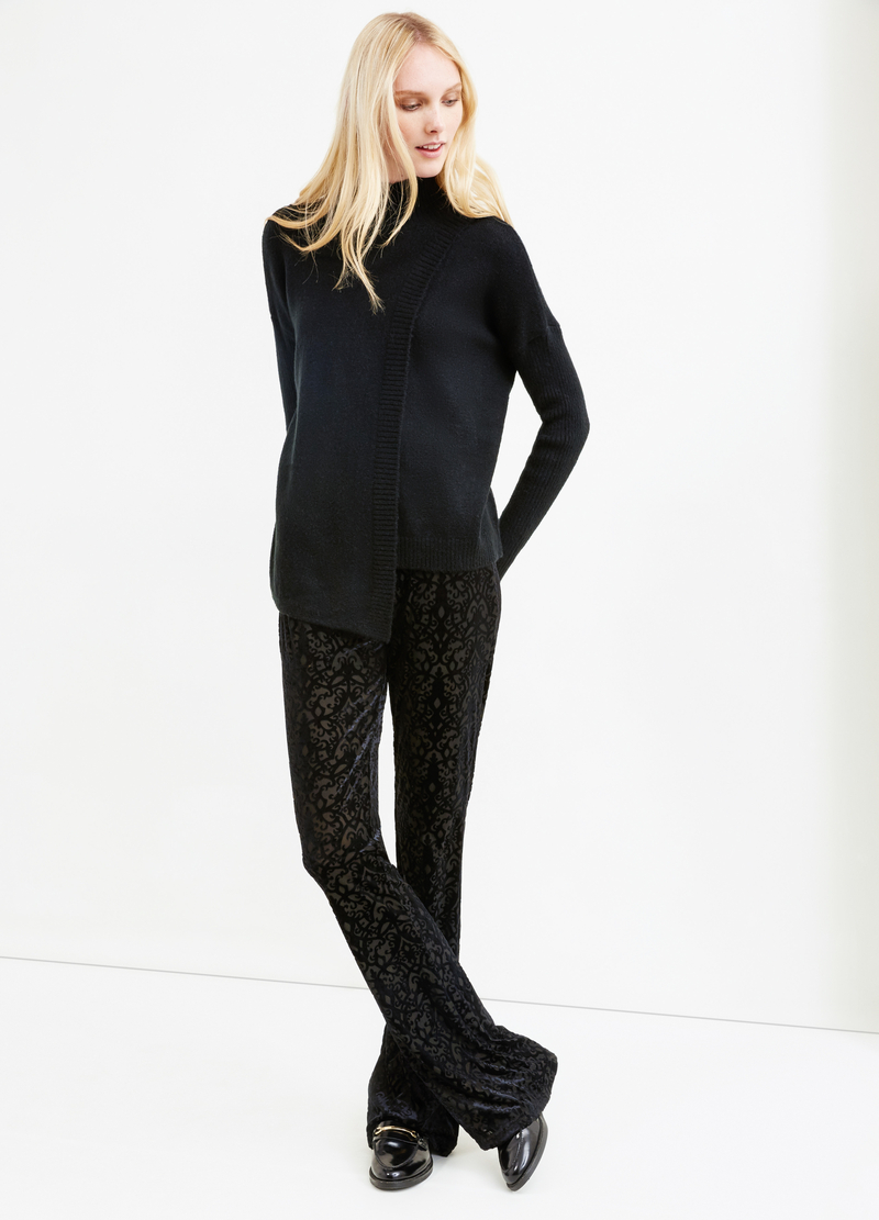 Lupetto tricot stretch con costina image number null