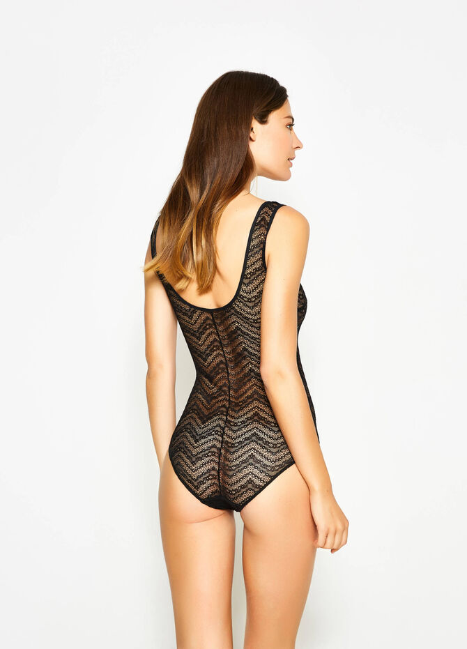 Solid colour stretch lace bodysuit