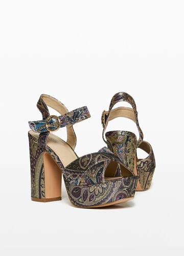 Damask sandals with high heels