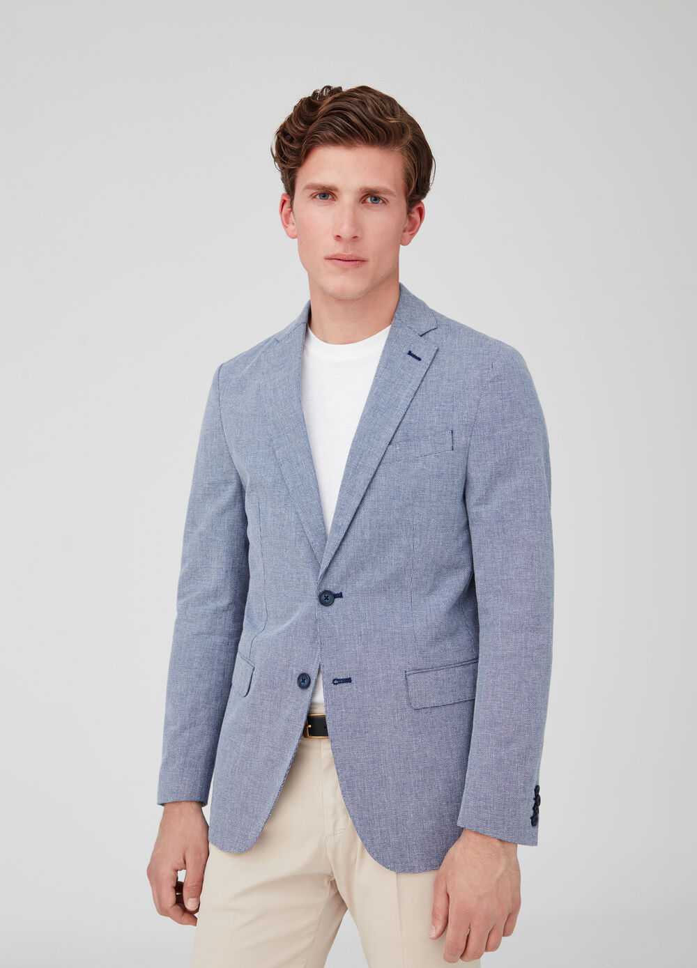 Blazer with lapels and geometric weave