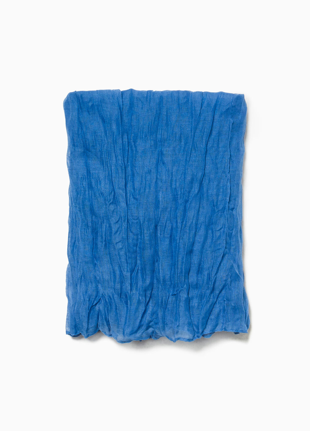 Solid colour creased-effect scarf