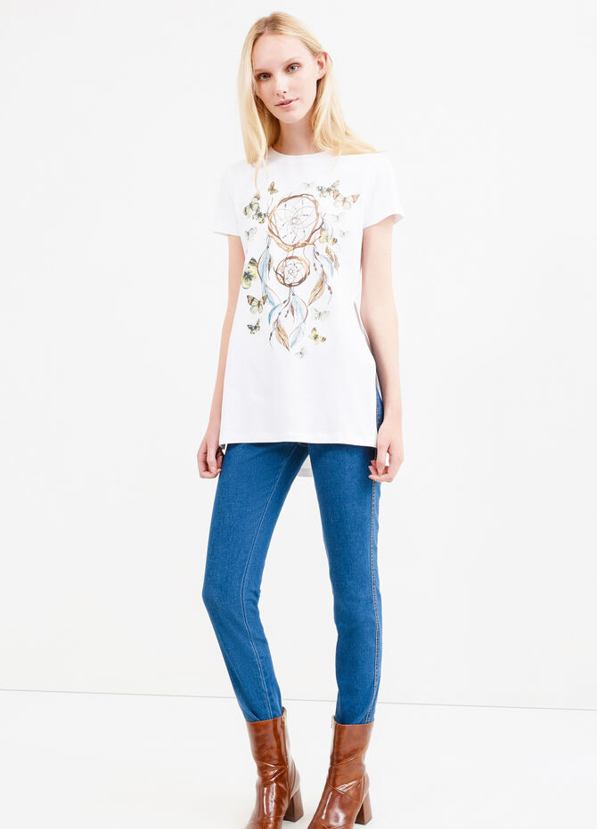 Long T-shirt with print and splits