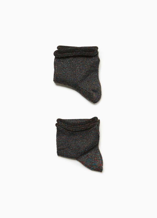 Two-pair pack short socks with lurex