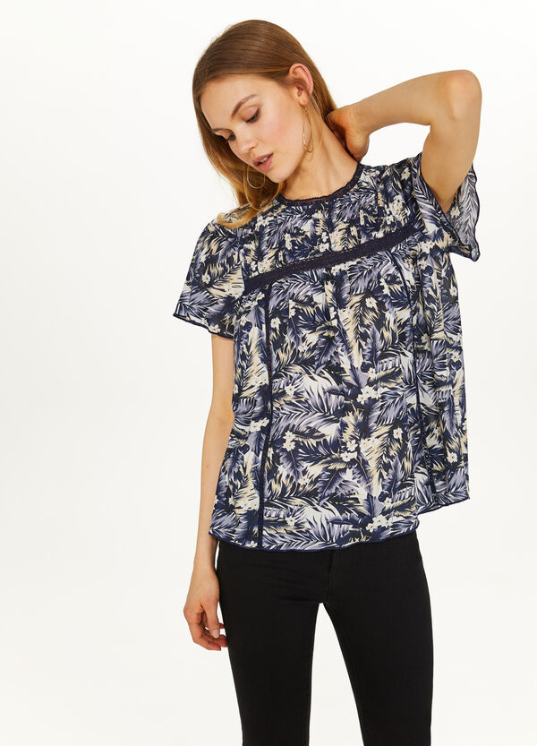 100% cotton blouse with floral print