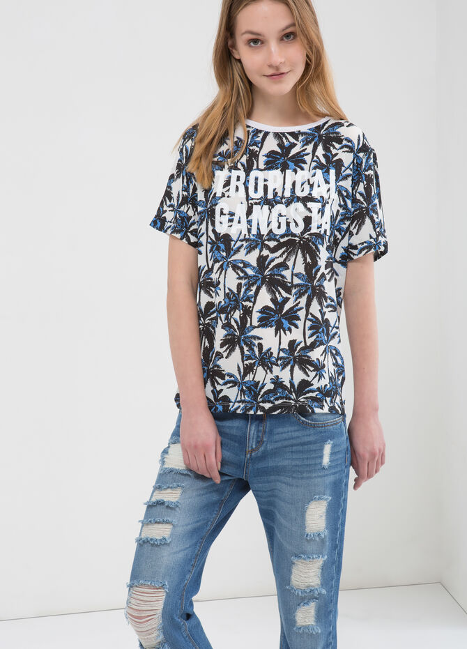 Patterned T-shirt with printed lettering