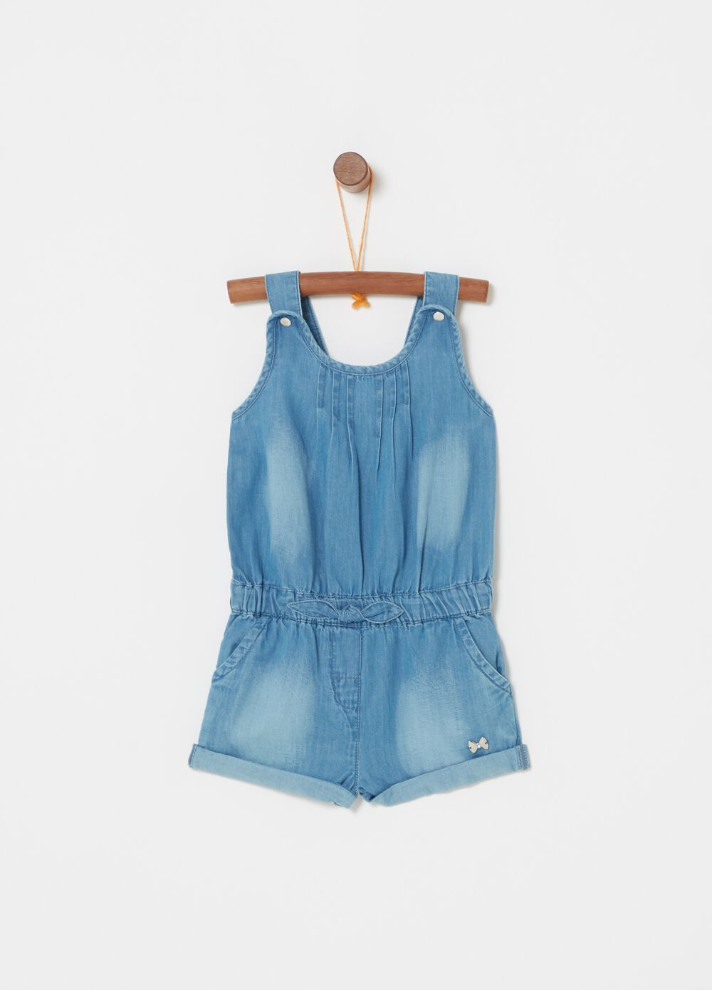 Salopette light denim con placchettina