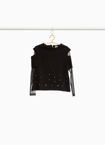 Sweatshirt with semi-sheer sleeves and studs