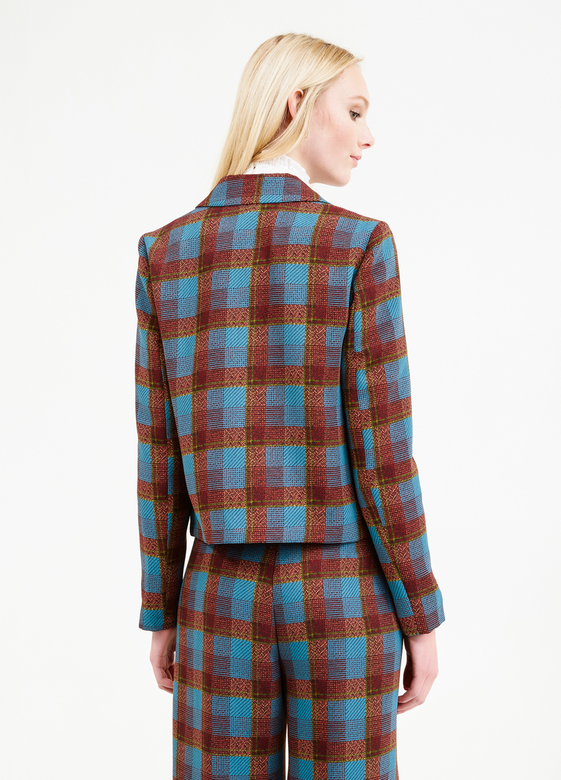 Blazer with tartan pattern and bluff collar. image number null