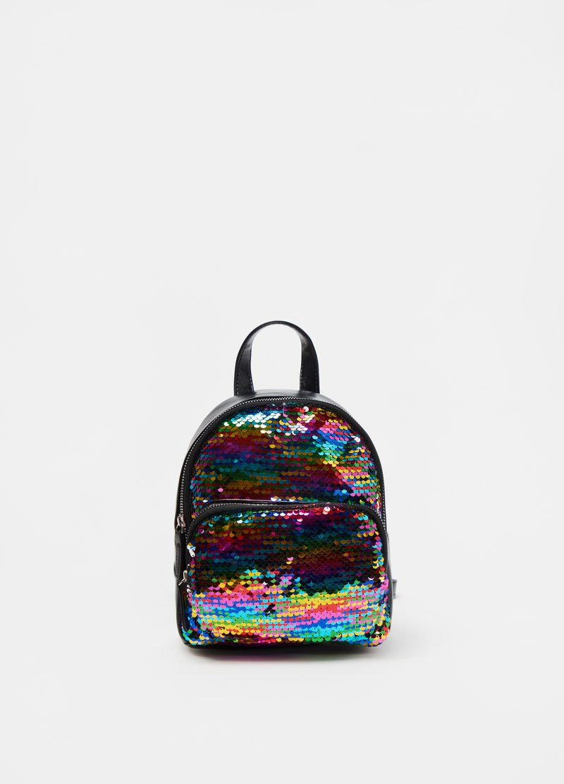 Backpack with multicoloured sequins image number null