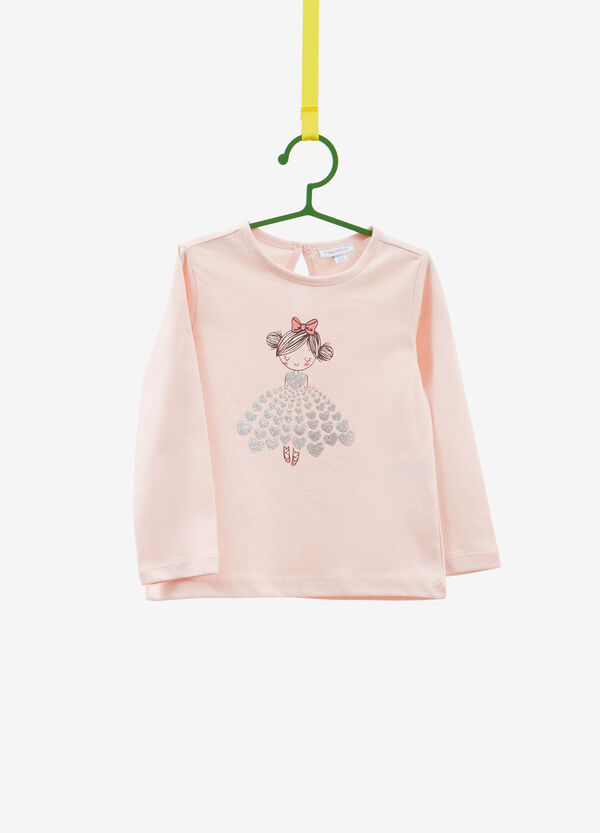 Cotton T-shirt with girl and hearts print