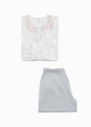 Floral cotton pyjamas with embroidery