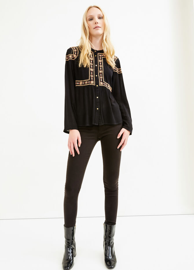 100% viscose blouse with embroidery