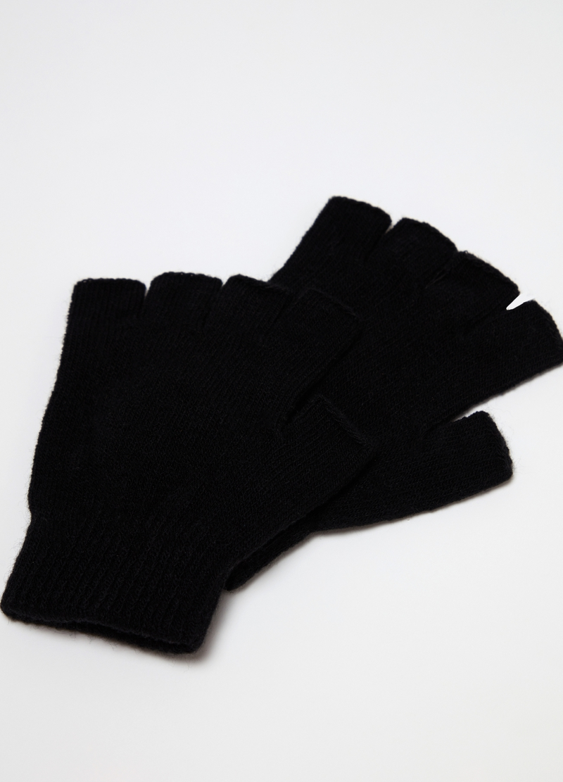 Solid colour fingerless knitted gloves image number null