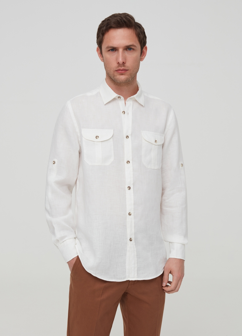 100% linen shirt with pockets image number null