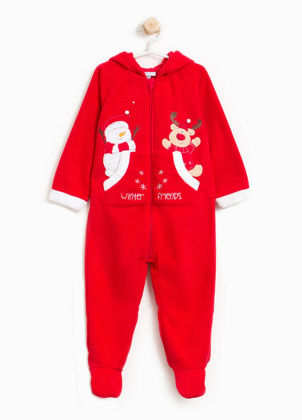 Velour onesie with feet and hood