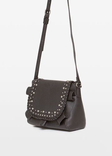 Shoulder bag with studs and ruches