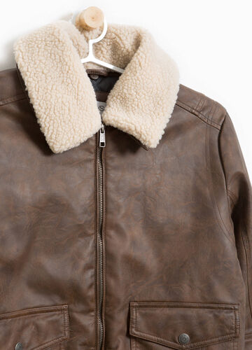 Leather look jacket with faux fur