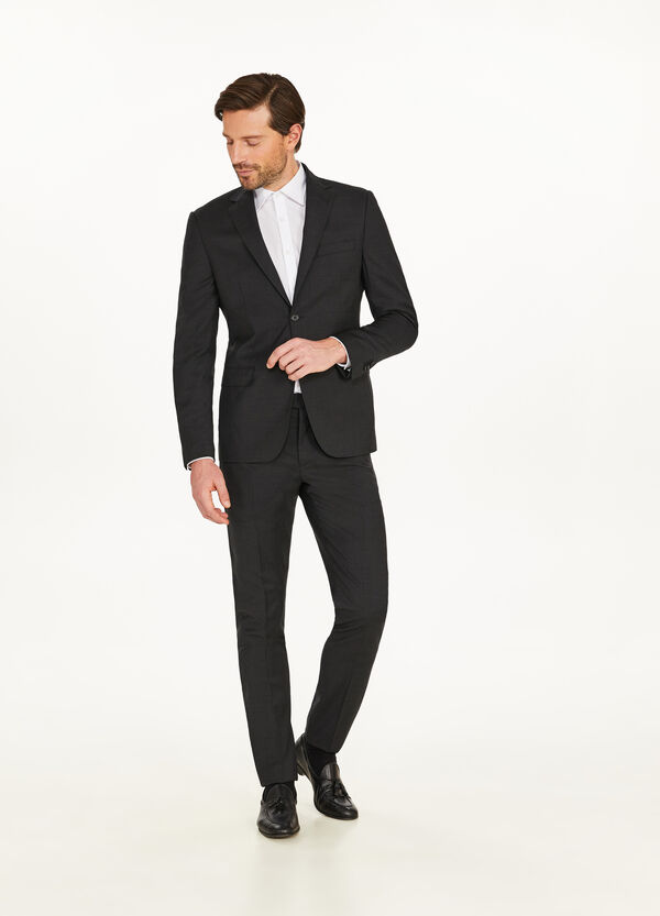 Solid colour regular-fit suit in 100% wool