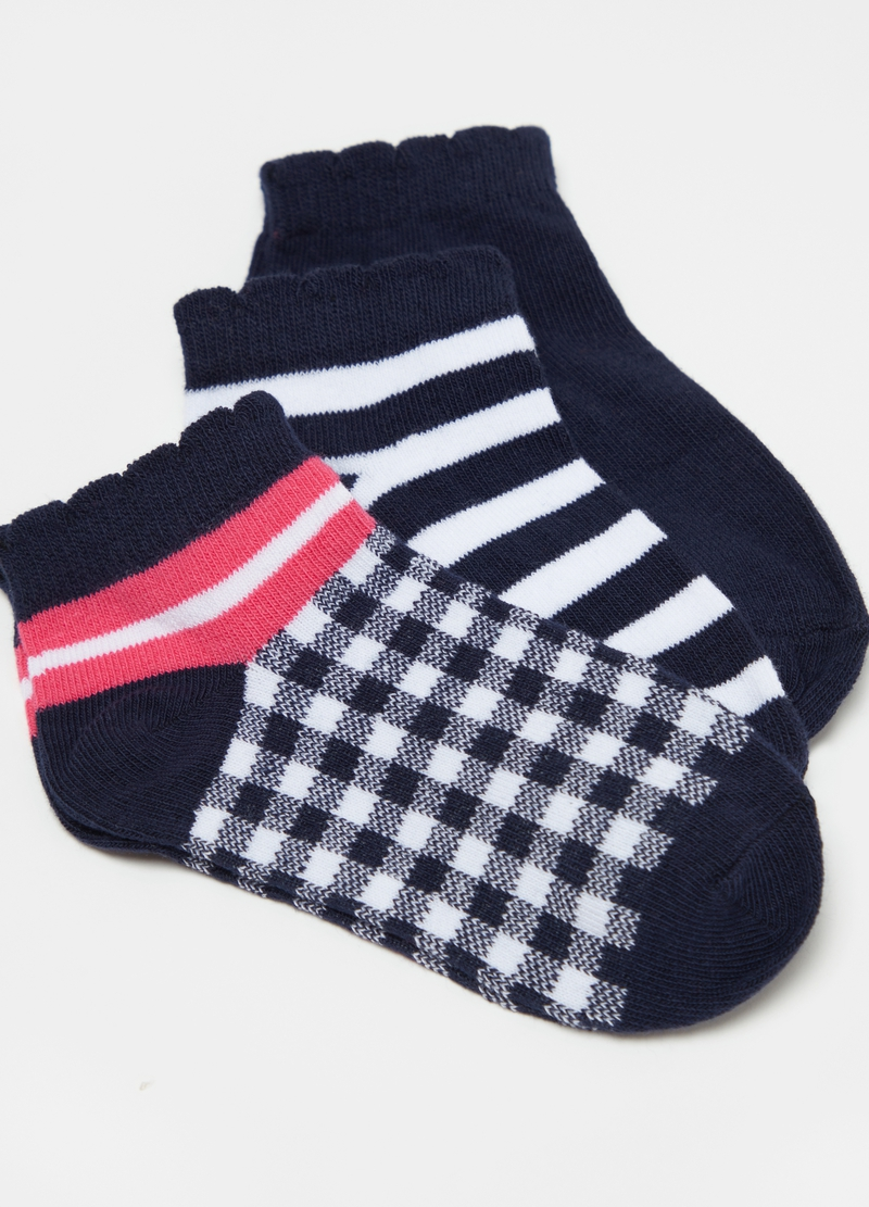 Three-pair pack short socks with stripes and check pattern image number null