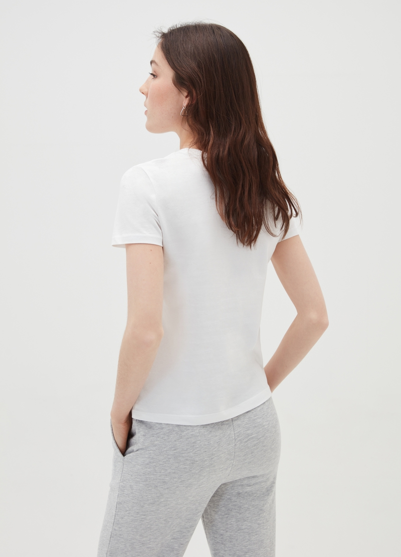T-shirt girocollo in puro cotone image number null