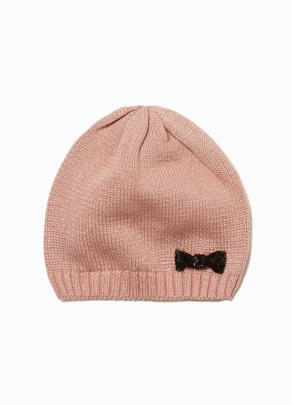 Knitted beanie cap with bow