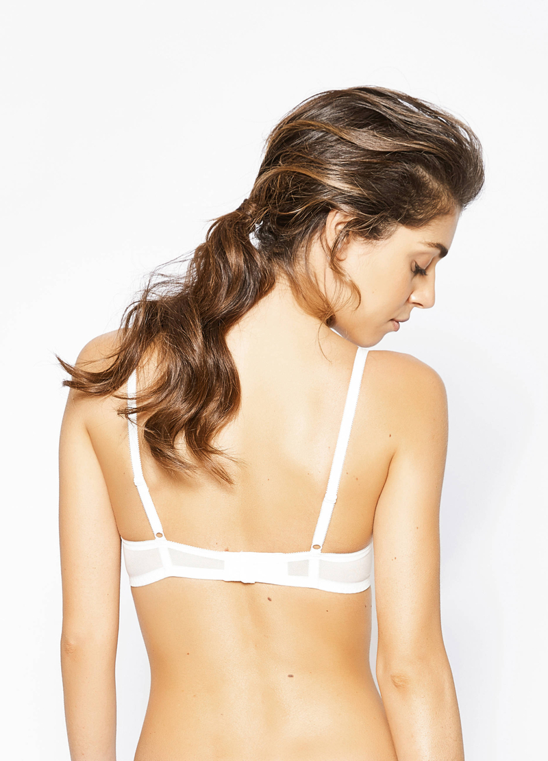 Stretch balconette bra with embroidery. image number null