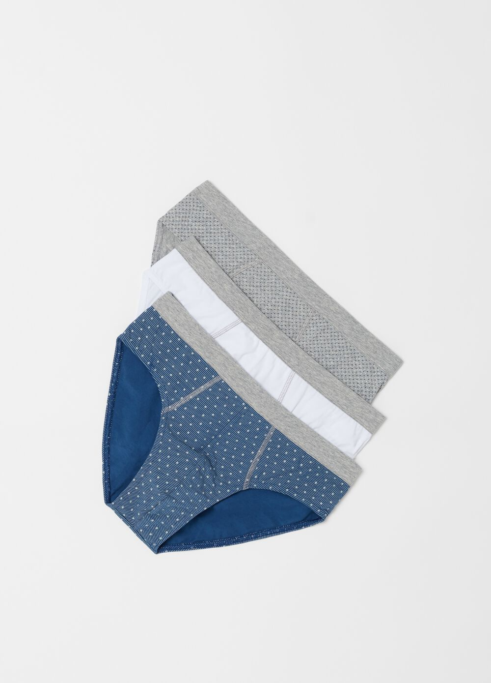 Three-pack patterned stretch cotton briefs