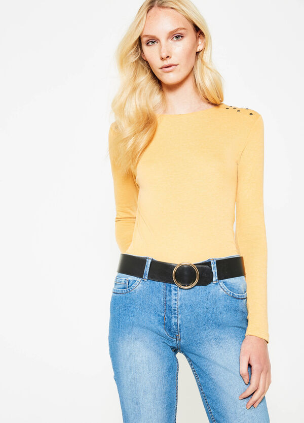 100% cotton T-shirt with studs   OVS