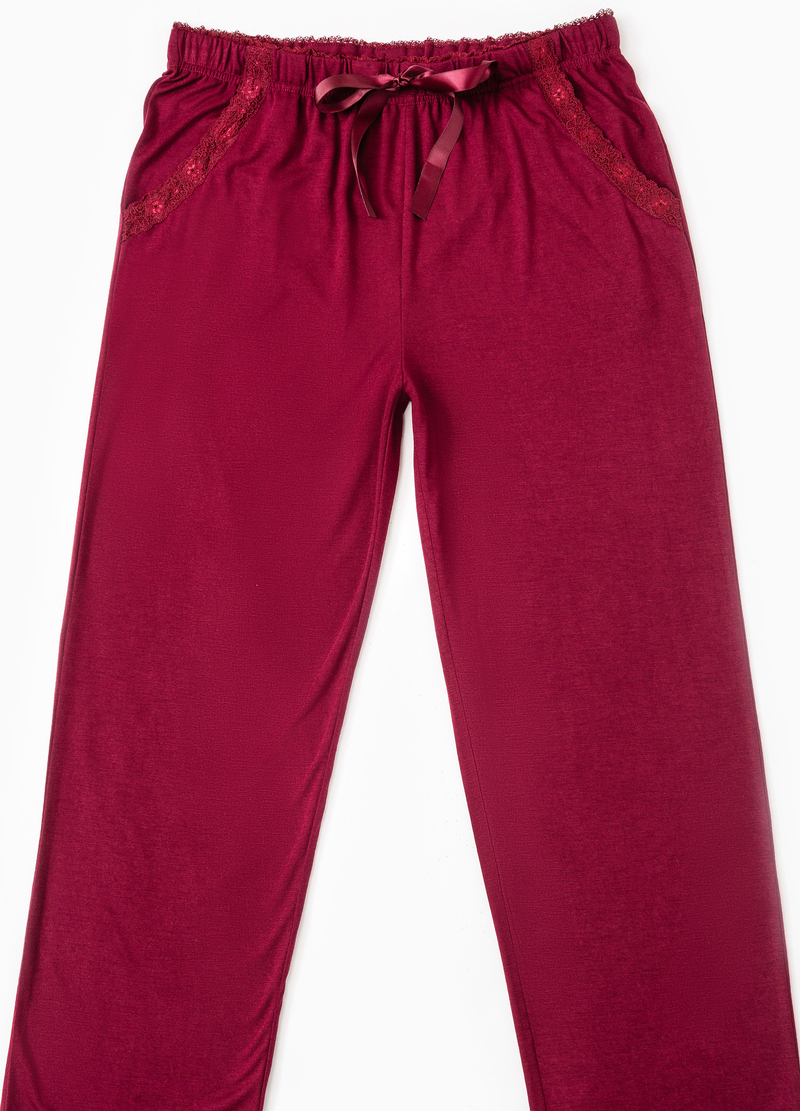 Viscose pyjama bottoms with lace image number null