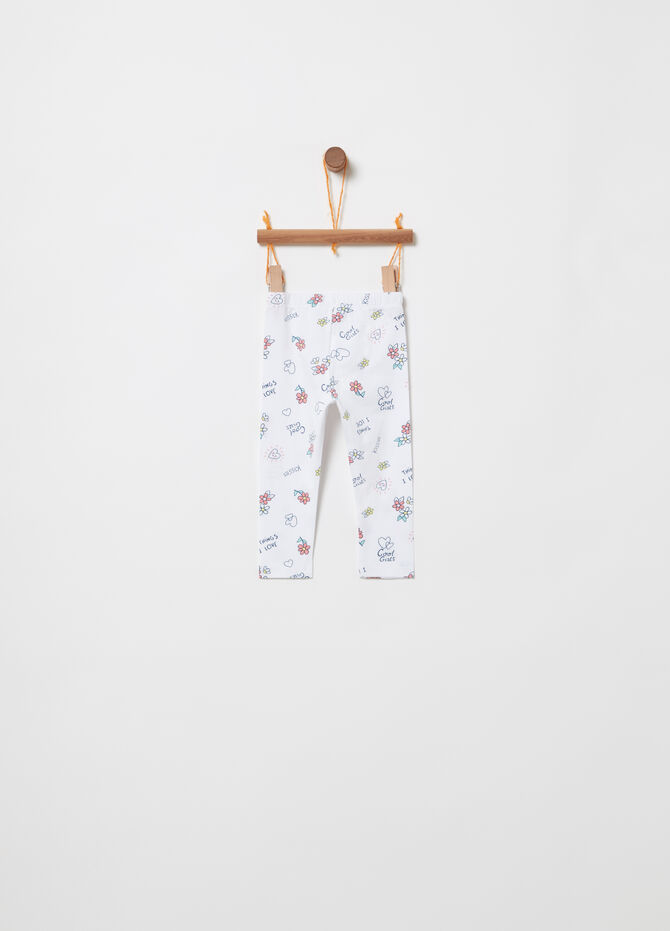 Organic cotton jersey leggings with pattern