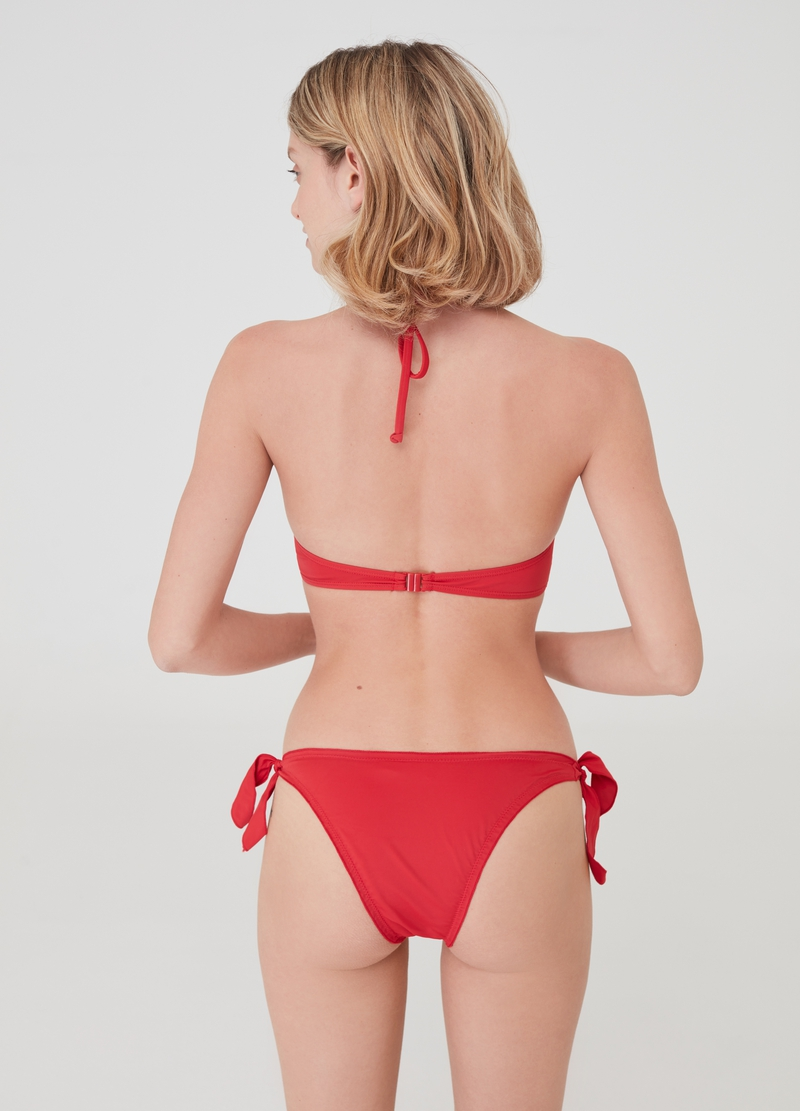 Solid colour bikini briefs with ties image number null