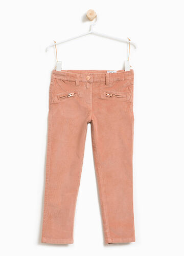 Pantaloni cotone stretch con zip