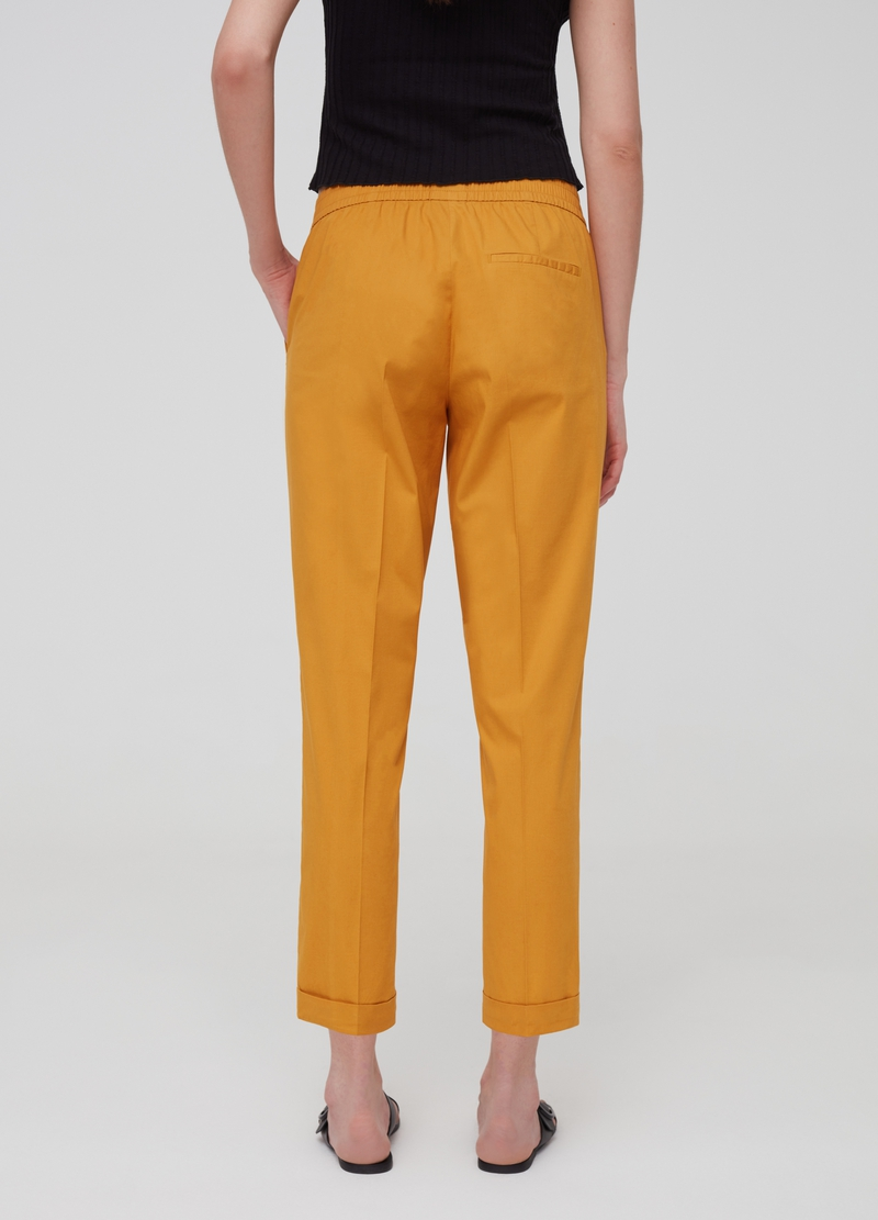 Stretch cotton trousers with belt image number null