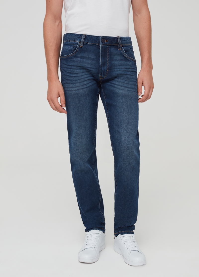 Mis-dyed-effect stretch jeans image number null