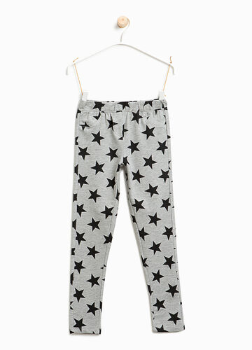 Stretch jeggings with star pattern
