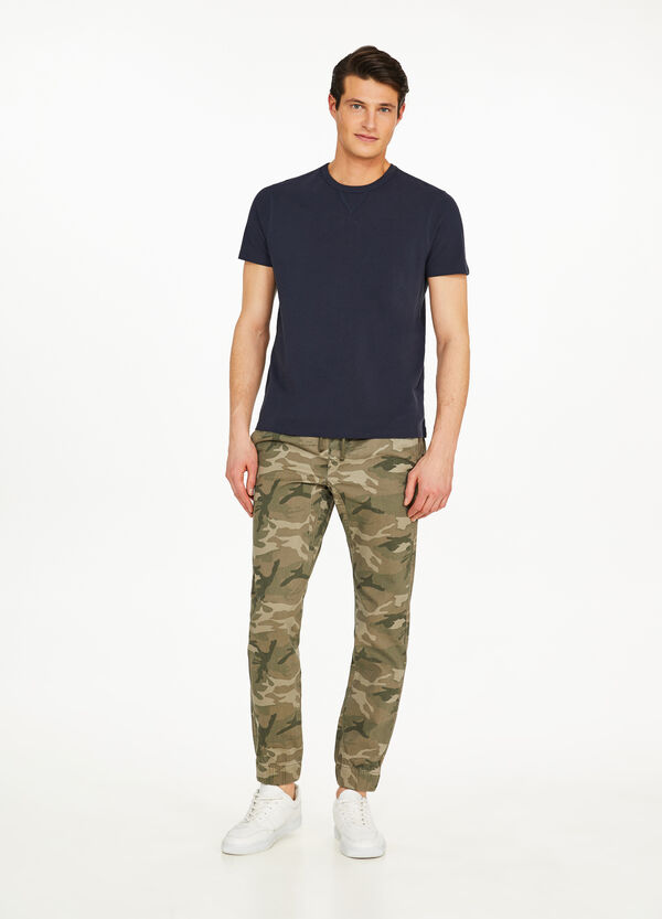 Cotton camouflage jogger-fit trousers
