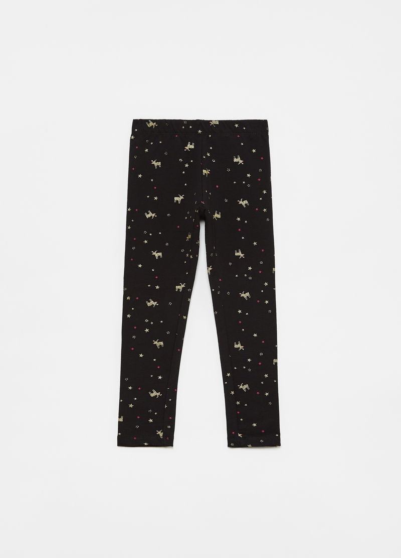Leggings stampa renne e stelle all-over image number null