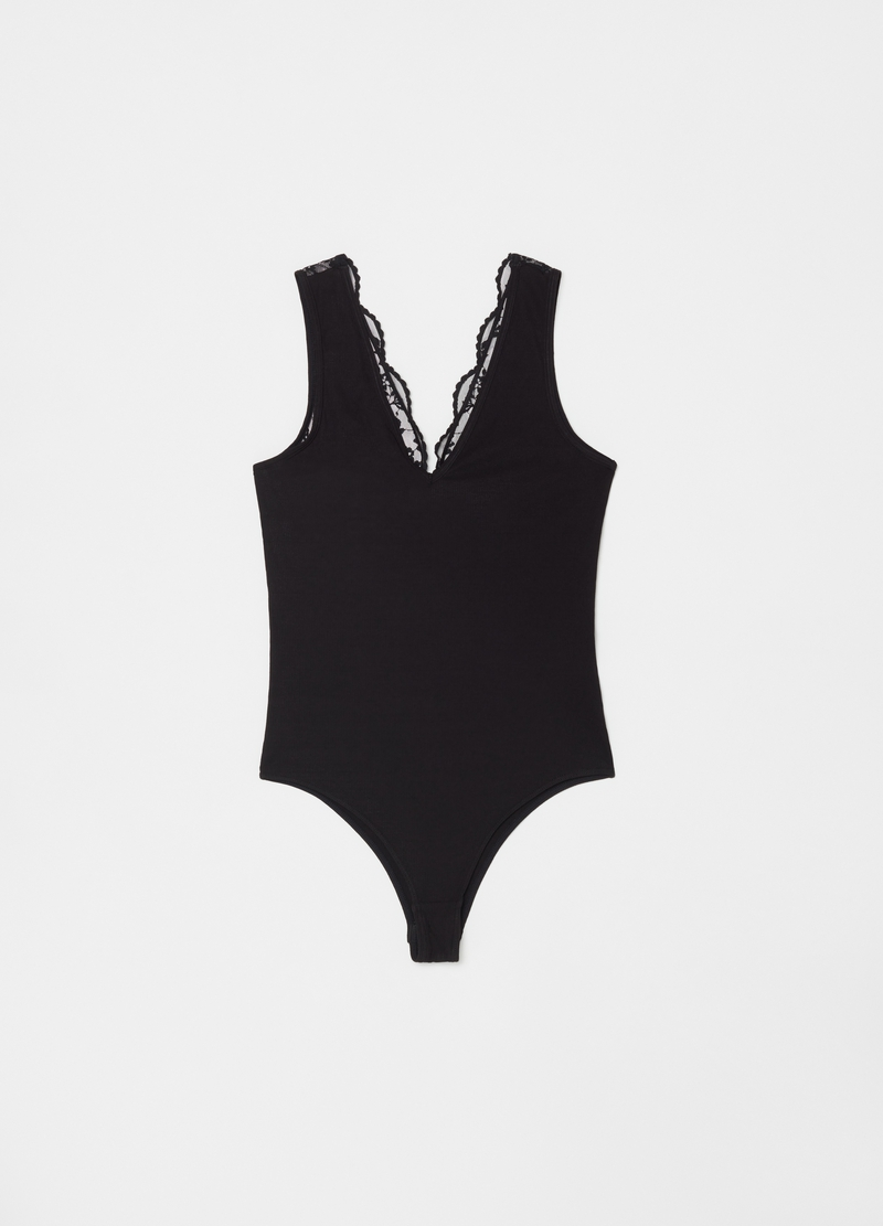 Body stretch a costina con pizzo image number null
